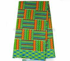 KF183 -Green, Orange, Kente Fabric, Queen 6 yards