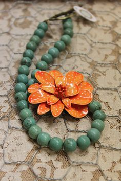 Vintage Assemblage Enamel Flower Brooch Asymetrical Necklace Orange and Turquoise Sassy Sisters One of a Kind