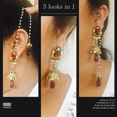 Kashmiri style earrings One earring can be worn as 3 different style . Change the style according to your dress or occasion . Champagne color earrings with detachable pearls . I have pictured it for u to give you the idea for looks in first pic . Pls ask any Q u have before buying . Jewelry Earrings