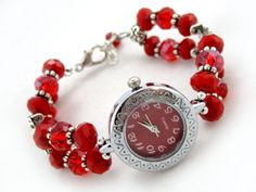 Valentine's Carnation red handmade  bracelet watch $19.00 - Ladies beaded bracelet watch. Quartz watch, Swarowski crystal, faceted fire polished glass beads, and Tibet silver on tiger's tail wire.