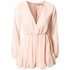 Reverse Sheer Sleeve Playsuit (215 RON) ❤ liked on Polyvore featuring jumpsuits, rompers, dresses, playsuits, tops, peach, womens-fashion, v neck romper, tall jumpsuit and v neck jumpsuit