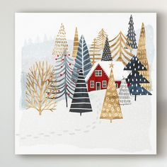 'Christmas Chalet I' Painting on Wrapped Canvas - Christmas Illustration - Christmas Design, Christmas Art, Christmas Decorations, Christmas Graphics, Christmas Posters, Christmas Fabric, Christmas Quotes, Christmas Pictures, Homemade Christmas