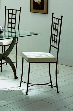 Silla mod. atenas, fabricado en forja de forma artesanal, se puede cambiar el color de la forja y tapizado