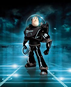 A user on deviantart called iamclu has done three awesome Tron: Legacy -inspired pieces. Here's a Tron-ified Buzz Lightyear, a London dou. Tron Legacy, Art Disney, Disney Love, Disney Pixar, Disney Characters, Disney Rides, Superhero Characters, Buzz Lightyear, Imprimibles Toy Story Gratis