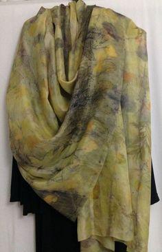 Silk Scarf Eco Print Yello Scarf Eco Printed by rachelsilkscarves