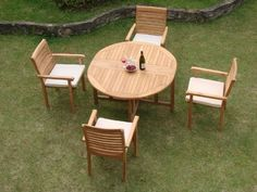 "New 5 Pc Luxurious Grade-A Teak Dining Set - 48"" Round Butterfly Table and 4 Stacking Arm Chairs [Model:HR6] by WholesaleTeak. $709.99. Table Dimension: Table: 48"" Diameter, 30.5"" H. Round table folds in butterfly fashion. Also has a hole for an umbrella.. Chair Dimension: 22"" Width x 21"" Depth x 34"" Height. The chairs are stackable for easy storage.. ADD SUNBRELLA FABRIC CUSHIONS BY SEARCHING ""Wholesaleteak Dining Cushion"" ON AMAZON, CUSTOM MADE FOR THESE STYLE CHAIRS. Set inclu..."