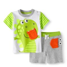 Healthtex Baby Boy T-shirt & Interactive Shorts, Outfit Set, Size: 0 - 3 Months, Green Skater Girl Outfits, Baby Boy Outfits, Kids Outfits, Baby Boy Fashion, Toddler Fashion, Short Niña, Baby Boy T Shirt, Winter Fashion Casual, Boys Pajamas