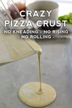 Crust Pizza Crazy Crust Pizza - No kneading, no rising time, no rolling out!Crazy Crust Pizza - No kneading, no rising time, no rolling out! Pizza Recipes, Cooking Recipes, Easy Pizza Dough Recipe, Skillet Recipes, Cooking Tools, Griddle Recipes, Crazy Crust Pizza Recipe, Homemade Pizza Sauce, Homemade Pizza Rolls