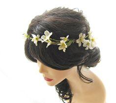 wedding  flower head wreath flower girl ivory white barely yellow small flower hair adornment