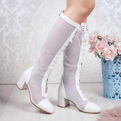 Cizme de vara dama perforate cu toc albe Braunia Booty, Ankle, Casual, Shoes, Fashion, Moda, Swag, Zapatos, Wall Plug