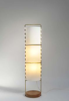 Joseph-André Motte; #M1 Wood, Brass and Perspex Floor Lamp for Les Huchers, 1958.