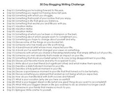 For my mental health, I'd like to do this 30 day blogging/writing challenge