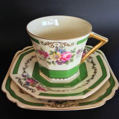 Arco-Czechoslovakia-1930s-Art-Deco-Vintage-Bone-China-Trio-Set-Rare-Unique-Green