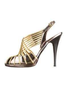 Roberto Cavalli Metallic silver and gold leather cage peep-toe slingback pumps