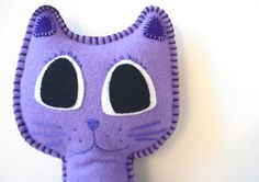 Plush Stuffed Purple Kitty Cat, Cat Soft Toy, Cat Pillow, Cat Softie, Cat Plushie, Purple Cat, New Baby, Baby Gift, Shower Gift by LilyRazz on Etsy