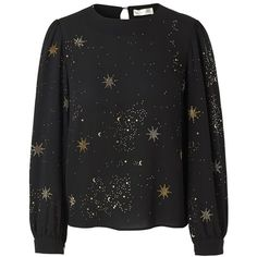 STINE GOYA Gemini Embellished Top - Stars (6,255 MXN) ❤ liked on Polyvore featuring tops, stars, loose long sleeve tops, holiday tops, loose summer tops, loose fitting tops and ruching tops