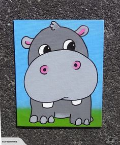 Hippo graffiti art canvas by Scream | Trade Me