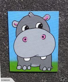 Hippo graffiti art canvas by Scream | Trade Me