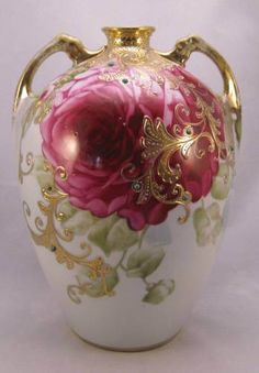 "Large Antique Nippon Vase with Plush Pink Rose and Jewels ""Maple Leaf"" 52 