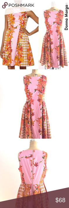 Gorgeous Fit & Flare Dress, Donna Morgan Neiman's Donna Morgan Floral fit & flare dress from Neiman Marcus, excellent condition. Beautifully cut sleeveless dress with pockets and a gorgeous color combo for all seasons! Gold tone back zip.Sz 10, fully lined, cotton stretch poplin. Machine washable. Donna Morgan Dresses Midi