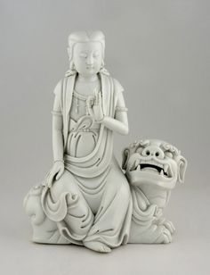 porcelain Kuan Yin Seated on Lion, China, Qing Dynasty (1644-1911), late 18th century.