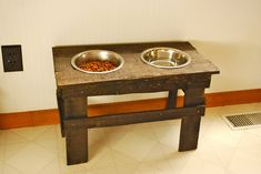 Elevated dog bowl from pallets