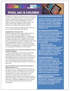 iPADS, AAC & CHILDREN Handout from the ICAN™ Talk Clinic of the AAC Institute - AACtion Points http://www.icantalkclinic.com/aaction-points.html