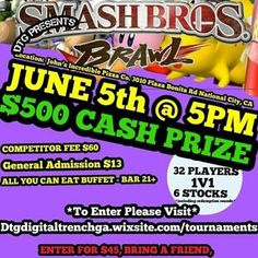 Only 3 more days!!! sign up at the link below that says: *To enter please visit*  Spectators and hardcore spectators that can't JUST spectate.  Casual gamers, hardcore gamers, players of all ages!! Get your tickets so you make sure you fill a spot to win $500 make you family proud, make your whole family proud, and make your whole city proud!!! 😂💸💰📅🎆🎮 #imperialbeachlocals #sandiegoconnection #sdlocals #iblocals - posted by 💥SUPER SMASH BROS TOURNAMENT🕹️…