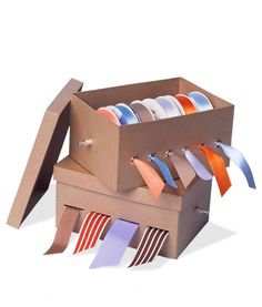 Ribbon Organiser Perhaps it's time to graduate from the shopping-bag school of organisation. Ribbons will stay untangled and ready to use in this easily made box (a shoebox will do). Ribbon Box How-To Storage Room Organization, Ribbon Organization, Ribbon Storage, Home Organisation, Craft Room Storage, Craft Rooms, Storage Boxes, School Bag Storage, Ribbon Box