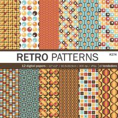 "Retro digital paper pack ""retro patterns"""