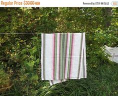 Autumn sale Lovely Vintage Striped Hand Woven by LinenFactory