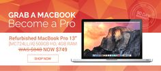 """Grab a MacBook! Become a Pro. Get yourself a refurbished MacBook Pro 13"""" [MC724LL/A] 500GB HD, 4GB RAM for only $749! Save up to $100 today at JemJem.com. Offer lasts until February 9, 2015."""