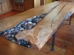 Kauri table..cobbles not pebbles.