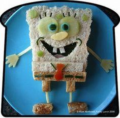 I just love this easy Spongebob Squarepants Sandwich bento box recipe. The Spongebob ham, cheese, and cucumber sandwich is cut from white. Sandwich Original, Cute Food, Good Food, Kreative Snacks, Food Art For Kids, Art Kids, Food Cartoon, Food Gallery, Bento Recipes