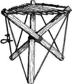Lashed tripod camp stool.