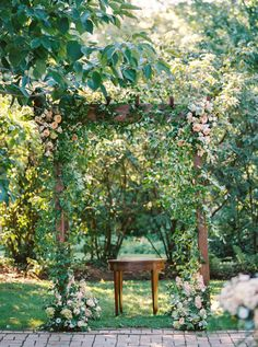 Gorgeous garden inspired ceremony arbor: http://www.stylemepretty.com/new-jersey-weddings/chesterfield-township-new-jersey/2016/02/02/garden-party-inspired-wedding-infused-with-pineapples/   Photography: Michelle Lange - http://www.loveandbemarried.com/