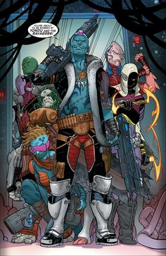 Yondu Udonta - is depicted with blue skin and a large red mohawk-like fin on his head. He's able to control arrows made from yaka, a sound-sensitive metal found only on his planet, by whistling.