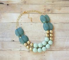 A statement necklace in shades of mint, ocean and gold.