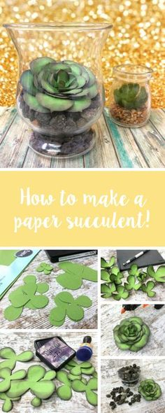 It's time to start thinking about bringing that Spring and Summer decor into your home. In this Sizzix tutorial, we'll show you to make your own DIY paper succulent using Sizzix dies. Feature your make with us using - diy paper Almost a real succulent Paper Flowers Craft, Crepe Paper Flowers, Origami Flowers, Felt Flowers, Flower Crafts, Diy Flowers, Paper Succulents, Paper Plants, Wedding Flower Decorations