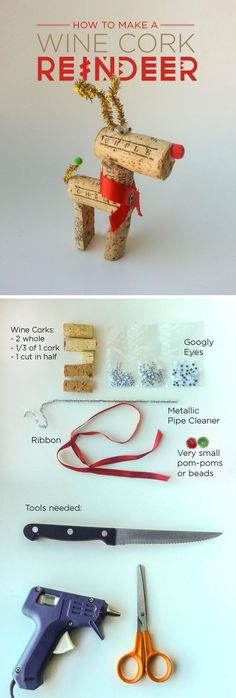 How to make a Wine Cork Reindeer #Christmas #craft #diy: