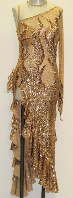 You can now buy the dresses worn by celebrities on Strictly Come Dancing, Peach Gold Sequins Latin