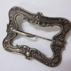 vintage Large Ornate Repousse Sterling Silver Front Belt Buckle Or Brooch