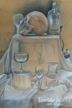 Charcoal still life drawing on toned paper- skull, reflections, transparent objects