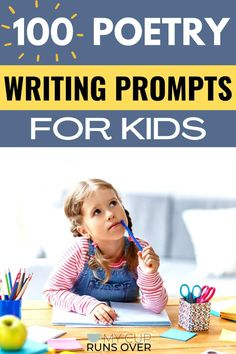 Help kids build a love of poetry by encouraging them to write their own! Here are 100 creative poetry prompts for kids. Get different kinds of prompts including good topics to write poems about and poetry starters (or first lines). We cover four main types of poetry: haiku, limerick, free verse, and rhyming. Poetry | Writing prompts | for kids | Funny | Poem | Inspiration | For teens | Topics for poems Teen Writing Prompts, Poetry Prompts, Creative Writing Prompts, Writing Poetry, Kids Writing, Free Verse Poems, Poem Topics, Funny Poems, Silly Songs