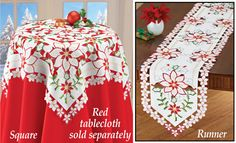 Holly Poinsettia Cut-out Table Linens