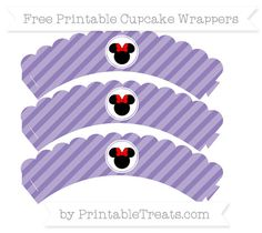 Free Pastel Dark Plum Diagonal Striped  Minnie Mouse Scalloped Cupcake Wrappers
