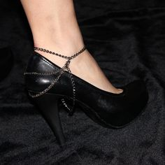 Silver and Black Chains Anklet and Shoe by NightingaleWorkshop, $14.90