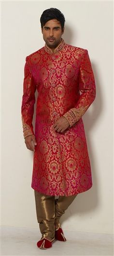 500040, Sherwani, Brocade, Patch, Zardozi, Sequence, Stone, Pink and Majenta Color Family