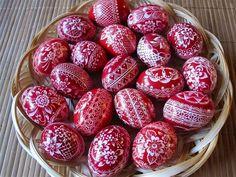 Red and white Pysanka, Pysanky eggs.