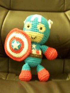 Captain America - CROCHET.  My husband needs one of these! Ha